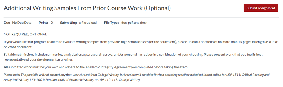 """the Additional Writing Samples assignment has a button next to the title to """"Submit Assignment"""""""