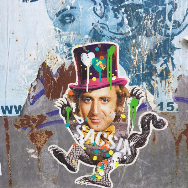 wall graffiti featuring Gene Wilder as Willy Wonka